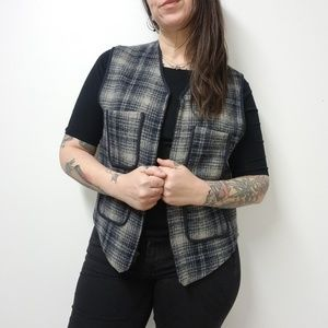 vtg USA Made LL BEAN Plaid Wool Outdoorsy Vest